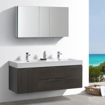 Fresca Valencia (double) 60-Inch Gray Oak Modern Wall-Mount Bathroom Vanity Set