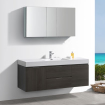 Fresca Valencia (single) 60-Inch Gray Oak Modern Wall-Mount Bathroom Vanity Set