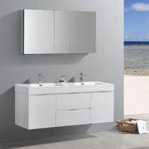 Fresca Valencia (double) 60-Inch Glossy White Modern Wall-Mount Bathroom Vanity Set