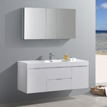 Fresca Valencia (single) 60-Inch Glossy White Modern Wall-Mount Bathroom Vanity Set