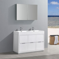 Fresca Valencia (double) 48-Inch Glossy White Modern Bathroom Vanity Set