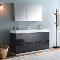 Fresca Valencia (single) 60-Inch Glossy Gray Modern Bathroom Vanity Set