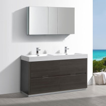 Fresca Valencia (double) 60-Inch Gray Oak Modern Bathroom Vanity Set