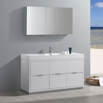Fresca Valencia (single) 60-Inch Glossy White Modern Bathroom Vanity Set