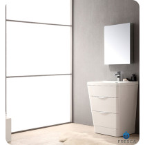 Fresca Milano (single) 25.5-Inch Glossy White Modern Bathroom Vanity Set