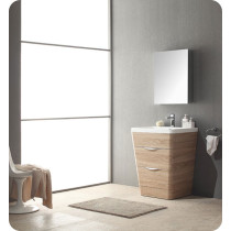 Fresca Milano (single) 25.5-Inch White Oak Modern Bathroom Vanity Set