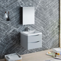 Fresca Tuscany (single) 23.7-Inch Glossy Gray Modern Wall-Mount Bathroom Vanity Set