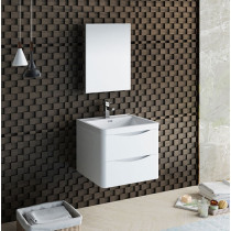 Fresca Tuscany (single) 23.7-Inch Glossy White Modern Wall-Mount Bathroom Vanity Set