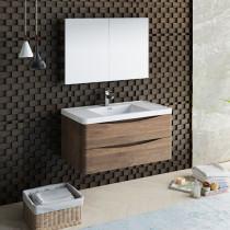 Fresca Tuscany (single) 39.5-Inch Rosewood Modern Wall-Mount Bathroom Vanity Set