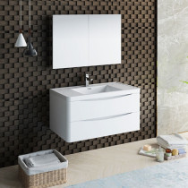 Fresca Tuscany (single) 39.5-Inch Glossy White Modern Wall-Mount Bathroom Vanity Set