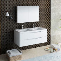 Fresca Tuscany (double) 47.3-Inch Glossy White Modern Wall-Mount Bathroom Vanity Set