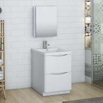 Fresca Tuscany (single) 23.7-Inch Glossy White Modern Bathroom Vanity Set