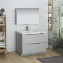 Fresca Tuscany (single) 39.5-Inch Glossy Gray Modern Bathroom Vanity Set