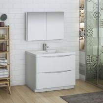 Fresca Tuscany (single) 39.5-Inch Glossy White Modern Bathroom Vanity Set