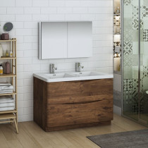 Fresca Tuscany (double) 47.3-Inch Rosewood Modern Bathroom Vanity Set