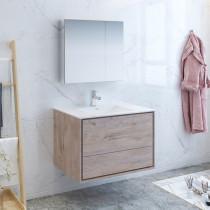 Fresca Catania (single) 35.6-Inch Rustic Natural Wood Modern Wall-Mount Bathroom Vanity Set
