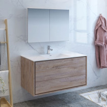 Fresca Catania (single) 47.3-Inch Rustic Natural Wood Modern Wall-Mount Bathroom Vanity Set