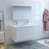 Fresca Catania (double) 47.3-Inch Glossy White Modern Wall-Mount Bathroom Vanity Set