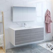 Fresca Catania (single) 59.3-Inch Glossy Ash Gray Modern Wall-Mount Bathroom Vanity Set