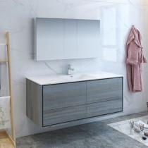 Fresca Catania (single) 59.3-Inch Ocean Gray Modern Wall-Mount Bathroom Vanity Set