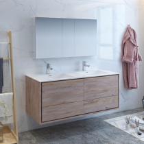 Fresca Catania (double) 59.3-Inch Rustic Natural Wood Modern Wall-Mount Bathroom Vanity Set