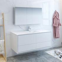 Fresca Catania (single) 59.3-Inch Glossy White Modern Wall-Mount Bathroom Vanity Set