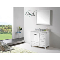 Virtu USA Caroline Avenue (single) 36.8-Inch White Contemporary Bathroom Vanity With Mirror