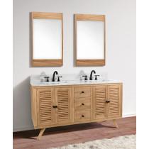 Avanity Harper (double) 61-Inch Natural Teak Vanity Cabinet & Optional Countertops
