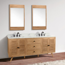 Avanity Harper (double) 73-Inch Natural Teak Vanity Cabinet & Optional Countertops