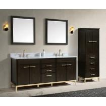 Avanity Hepburn (double) 73-Inch Dark Chocolate Vanity Cabinet & Optional Countertops