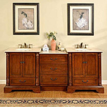 Barcelona (double) 87-Inch Antique Cherry Traditional Bathroom Vanity