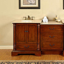 Barcelona (single) 55.5-Inch Antique Cherry Traditional Bathroom Vanity