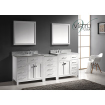 Virtu USA Caroline Parkway (double) 92.8-Inch White Contemporary Bathroom Vanity with Mirror