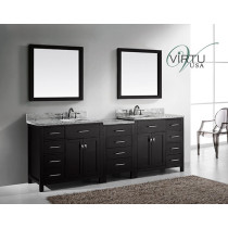 Virtu USA Caroline Parkway (double) 92.8-Inch Espresso Contemporary Bathroom Vanity with Mirror