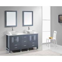 Virtu USA Bradford (double) 59.8-inch Gray Modern Bathroom with Top Option