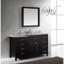 Virtu USA Caroline Parkway (single) 56.4-Inch Right Side Espresso Transitional Bathroom Vanity with Mirror