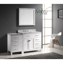 Virtu USA Caroline Parkway (single) 56.4-Inch Right Side White Transitional Bathroom Vanity with Mirror