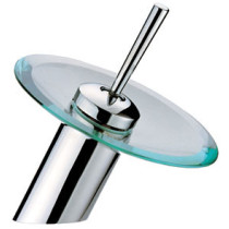 Modern One Hole Waterfall Chrome And Glass Faucet