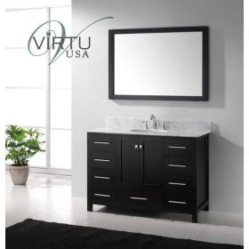 Virtu USA Caroline Avenue (single) 48.8-Inch Espresso Contemporary Bathroom Vanity With Mirror