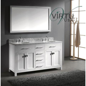 Virtu USA Caroline (double) 60-Inch White Contemporary Bathroom Vanity with Mirror