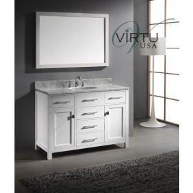 Virtu USA Caroline (single) 48-Inch White Contemporary Bathroom Vanity with Mirror