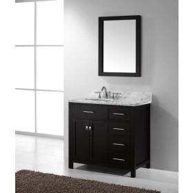 Virtu USA Caroline Parkway (single) 36.9-Inch Right Side Espresso Transitional Bathroom Vanity with Mirror