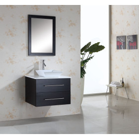 Virtu USA Marsala (single) 29.5-Inch Espresso Modern Wall Mount Bathroom Vanity Set