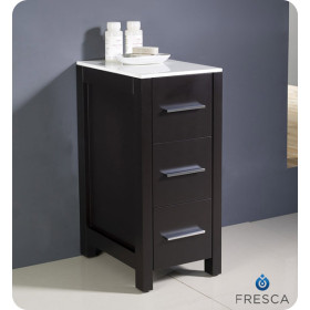 Fresca Torino 12-Inch Espresso Bathroom Linen Side Cabinet