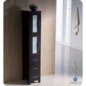 Fresca Torino 12-Inch Espresso Bathroom Tall Linen Side Cabinet