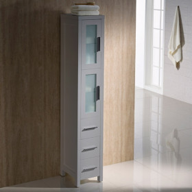 Fresca Torino 12-Inch Gray Bathroom Tall Linen Side Cabinet