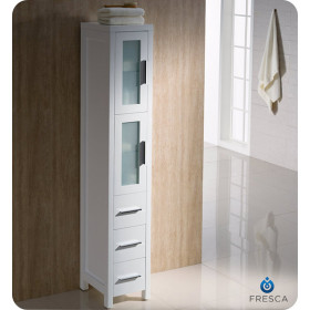 Fresca Torino 12-Inch White Bathroom Tall Linen Side Cabinet