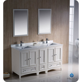 Fresca Oxford (double) 60-Inch Antique White Transitional Modular Bathroom Vanity Set