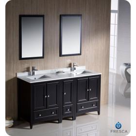 Fresca Oxford (double) 60-Inch Espresso Transitional Modular Bathroom Vanity Set