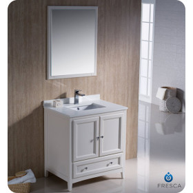 Fresca Oxford (single) 30-Inch Antique White Transitional Bathroom Vanity Set